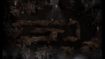 Шалашовка в ковбойской шляпе насаживается на длинный фаллоимитатор задней дыркой